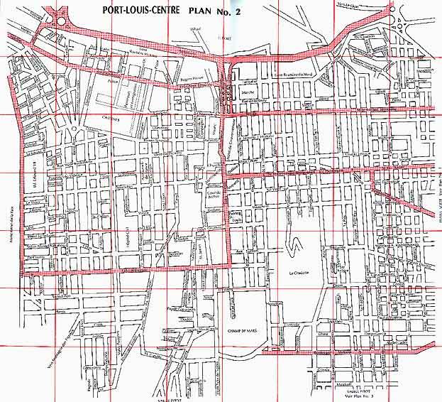 Plan des villes de l'île Maurice : Port Louis Centre